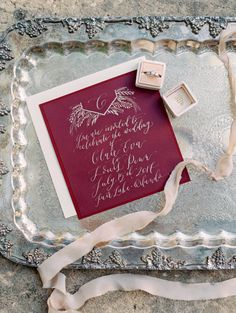 Maroon and blush wedding invitation: http://www.stylemepretty.com/florida-weddings/2016/09/16/lakeside-wedding-inspiration-in-sunny-florida/ Photography: Kt Crabb - http://ktcrabbphotography.com/