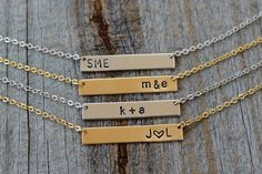 Personalized Hand Stamped Bar Necklaces   Jane