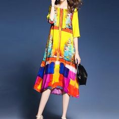 97e79a04425c Take a look at this Yellow Abstract Geometric Side-Slit Dress - Women today!