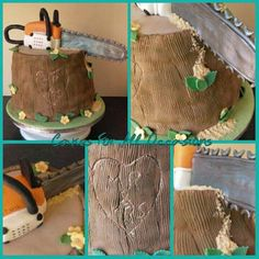Wedding cake, chainsaw, tree stump