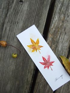 Autumn leaves - hand-painted watercolor bookmark