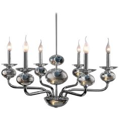 European Modern Anastacia Six-Arm Glass, Brass and Nickel Chandelier 1