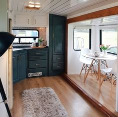 Tour this kid-friendly modern rustic camper remodel! Van Living, Tiny House Living, Small Living, Camper Trailers, Rv Campers, Small Campers, Travel Trailers, Tyni House, Caravan Makeover