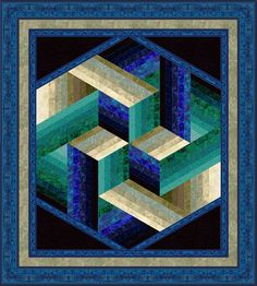 """August Designer of the Month Jinny Beyer - """"Faberge"""", a dimensional strip quilt by Jinny Beyer art blue aqua teal turquoise - Bargello Quilts, 3d Quilts, Strip Quilts, Blue Quilts, Jellyroll Quilts, Scrappy Quilts, Tumbling Blocks Quilt, Quilt Blocks, Quilting Projects"""