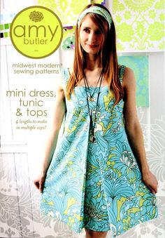 Sewing Pattern for Mini Dress, Tunic, and Tops by Amy Butler $14.99 Free shipping on all patterns. #sewing pattern #sewing