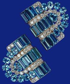 Pair of aquamarine and diamond clips - eighteenth birthday present to Princess Elizabeth from her parents, King George VI and Queen Elizabeth, in 1944.