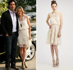 Get Amy Smart's Romantic, Cream Sheer Lace Dress on Sale