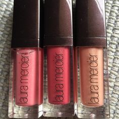 Trio of Lip Glacé by Laura Mercier Baby Doll, Rose and Sparkling lip Glace Never used Laura Mercier Makeup Lipstick