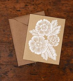 Blockprinted Card, Three White Flowers - Set of 6 by Katharine Watson on Scoutmob Shoppe