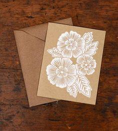 Blockprinted Card, Three White Flowers - Set of 6 by Katharine Watson on Scoutmob Shoppe