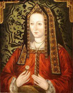 Portrait of Elizabeth of York (1466-1503), amongst English Royalty was a daughter to a king, niece to a king, wife to a king, mother to a king and 2 queens, grandmother to a king and 2 queens, great grandmother to 1 queen and great great grandmother to a king  and so on into the Stuart dynasty.