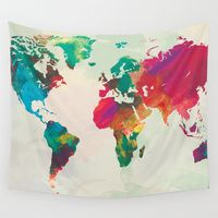 Wall Tapestries featuring Watercolor World Map by PAZWAZ