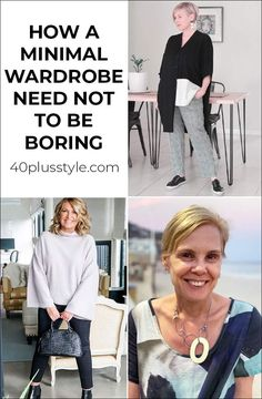 How a minimal wardrobe need not be boring - look better with less Fashion Capsule, Fashion Outfits, Makeup Tips For Older Women, Over 60 Fashion, Minimal Wardrobe, Clothes 2019, Beauty Full, Minimal Fashion, Comfortable Fashion