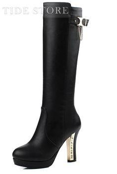 Stylish Solid Colour High Heel Long Boots, Women Shoes Online | Tidestore.com