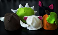 Fleece hats--so cute!!! gotta try these. I'd like to turn the cat hat into a sugar glider hat