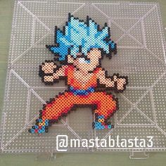 Super Saiyan God Goku - Dragon Ball perler beads by mastablasta3