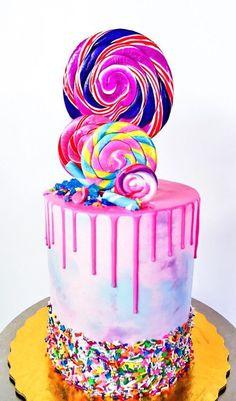 Katherine Sabbath inspired CandyLand cake by NoeyCakes - Beautiful Cakes & Cupcakes - Torten İdeen Pretty Cakes, Cute Cakes, Beautiful Cakes, Amazing Cakes, Bolo Drip Cake, Bolo Cake, Candy Cakes, Cupcake Cakes, Kid Cakes