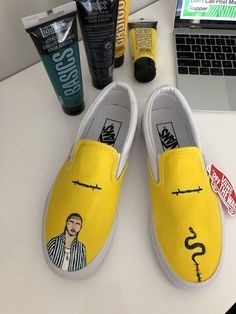 cde52ad783 custom painted beerbongs & bentleys yellow post malone slip on vans  #fashion #clothing