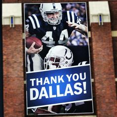 The Dallas Clark banner hanging up outside of Lucas Oil Stadium. Via the Indianapolis Colts.