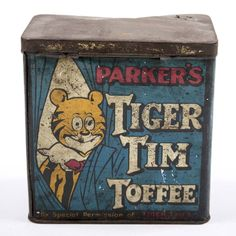 Parker's Tiger Tim Toffee - TWCMS:G12131 | A tin of Parker's Tiger Tim Toffee with a blue, red, yellow, white and black label. Manufactured by T.W. Parker & Co, Newcastle upon Tyne, Tyne and Wear, England, UK. 1914 - 18. (Copyright) Tyne & Wear Archives & Museums