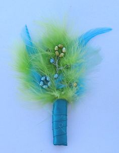 Mens Boutonniere  Lime Green Turquoise Blue by STAROSECREATIONS, $10.00