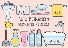 Premium Vector imágenes prediseñadas - imágenes prediseñadas baño de Kawaii - Kawaii baño Clip art Set - vectores de calidad alta -…