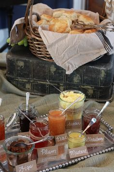 Biscuit Bar great for a brunch Why not a fundraiser meal? Rather than a Pancake Breakfast have a biscuit breakfast buffet with fruit salad, mini quiche, etc. Brunch Mesa, Brunch Bar, Brunch Food, Biscuit Bar, Biscuit Recipe, Birthday Brunch, Easter Brunch, Birthday Breakfast, Birthday Bash