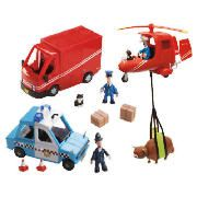Postman Pat Figure & Vehicles Playset  This Postman Pat figure and vehicles play set welcomes you to the world of Postman Pat. Join Pat and Jess as they drive around in their SDS van passing all of the vehicles in Pencaster. The set also includes the SDS helicopter with Pilot Pat, and PC   http://www.comparestoreprices.co.uk/postman-pat/postman-pat-figure-&-vehicles-playset.asp