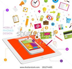 Set of icons. Flat Design. Mobile Phones, Tablet PC, Web and Apps vector icons. Marketing and Time Management Services Illustrations. Digital Art. Responsive internet advertising and pay templates.  - stock vector
