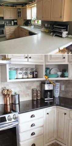 Raise the cabinets to the ceiling and add a shelf uner them to squeeze out some more storage space.