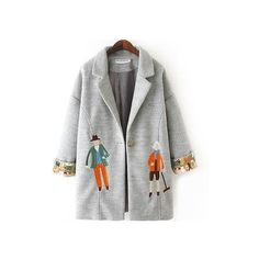 Light Grey Woolen Coat With Cartoon Figure Embroidery JA106119 (€47) ❤ liked on Polyvore featuring outerwear, coats, light grey coat, woolen coat, embroidered coat, comic book and light grey wool coat