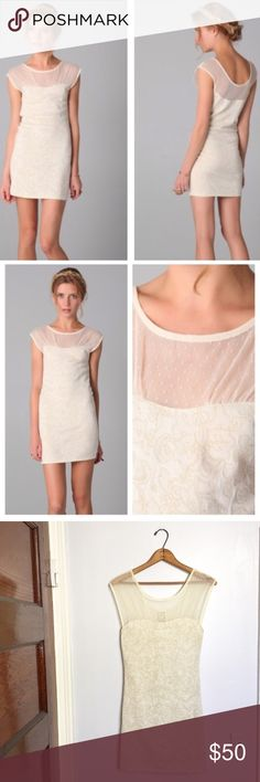 """[Free People] Starlight cream/gold mesh bodycon - Size: petite small - Condition: Excellent - Color: cream & gold - Lined: no - Closure: none - Style: Starlight, bodycon - Extra notes: stock photos aren't mine. Great for wedding events, bridal showers, wedding rehearsal, etc - C17  *Measurements:  Bust: 14.25"""" flat Waist: 13"""" flat Length: 32.75""""  Bundling is fun, check out my other items! Home is smoke free. No trades, holds, modeling, or negotiations in comments. Free People Dresses Mini"""