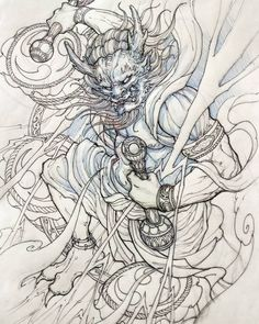 Raijin #sketch #illustration #drawing #irezumi #tattoo #asiantattoo #asianink #chronicink #irezumicollective #raijin #thundergod