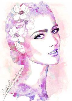 Watercolor, Portrait, Art
