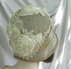 Cream and Taupe Summer  Wedding Hat