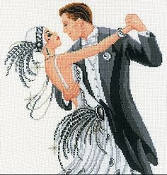 Amazing X Stitch websites - art deco dancing couple--hard to believe this is cross stitch!  Gorgeous