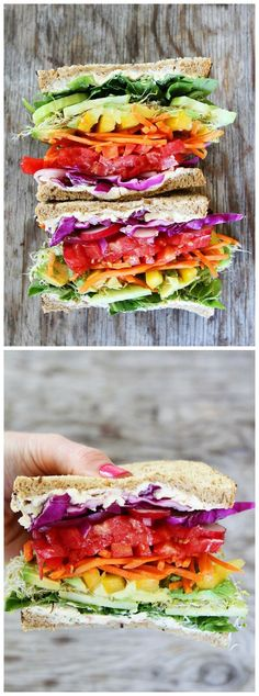 Rainbow Vegetable Sandwich Recipe on http://twopeasandtheirpod.com The best veggie sandwich EVER! I love all of the colors! This one is fun to make and fun to eat!