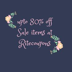 Ritecoupons has announced superb discount deal and discounts offers for the brands this weekend. A number of products ranging from clothing to the electronics are accessible with up to 80% off for the online customers.  Browse the wide assortments of products with affordable coupons across the website and boost favorable saving on every single click. #Sales #ExclusiveCoupons #DiscountCoupo#FreeShippingCoupons
