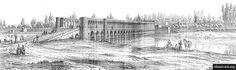 the Allahverdi Khan Bridge and the Khwaju Bridge. Pascal Coste, Building Sketch, Moorish, World History, Islamic Art, Art And Architecture, Monuments, Iran, Centre
