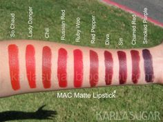 MAC Matte Lipstick - I own Lady Danger, Chili, Russian Red, Ruby Woo, Diva. I think Red Pepper and Sin look nice though. Mac Red Lipsticks, Mac Lipstick Swatches, Mac Matte Lipstick, Makeup Swatches, Lipstick Colors, Lip Colors, Mac Chili Lipstick, Brown Lipstick, Lipstick Shades