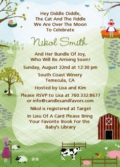 Nursery rhyme card stock for invitations