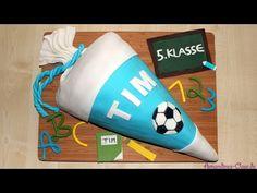 Einschulungstorte | Schultüte mit Süßigkeitenfach | Kinderschoki-Ganache | Piñata-Torte - YouTube