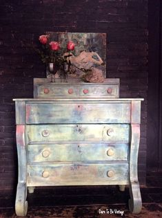 Bohemian Dresser Painted Vintage Sideboard Buffet Shabby Chic