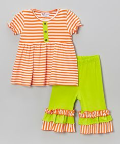 Look at this #zulilyfind! Orange Stripe Tunic & Lime Capri Pants - Infant, Toddler & Girls by Whimsical by Molly Pop Inc. #zulilyfinds