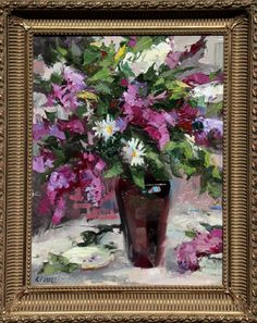 Robert Moore   Lilac Floral  Oil - 24 by 18 Inches  $2,600  trailsidegalleries.com #trailsidegalleries #mothersday #paintings #art #floral