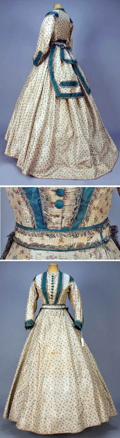 Day dress ca. 1865. Three-piece cream silk de chine taffeta with tiny black windowpane & warp-printed floral patterns. Bodice has fringed teal taffeta trim. Dress has a belt with large peplum and an undecorated skirt with buckram hem band. Whitaker Auctions