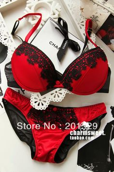 11.20 euro incl shipping Free shipping New design Bra and Panty Set lady's secret eyelash lace sexy up bra, red color-in Bra & Brief Sets from Apparel & Accessories ...