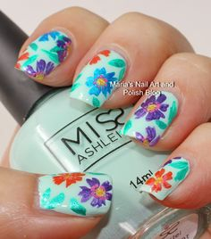 Marias Nail Art and Polish Blog: Multi color floral nail art on mint
