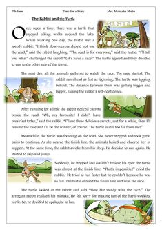 Time for a story _ The Rabbit and the Turtle - English ESL Worksheets for distance learning and physical classrooms English Stories For Kids, Moral Stories For Kids, English Lessons For Kids, Short Stories For Kids, English Story, Kids English, Reading Stories, Reading Passages, Learn English