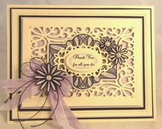 PartiCraft 7 1/4 x 9 Thank You For All You Do, Austrian Background, Arched Swirls stamp, French Burgundy set, Austrian Salzburg, Austrian Border, Delicate Daisies